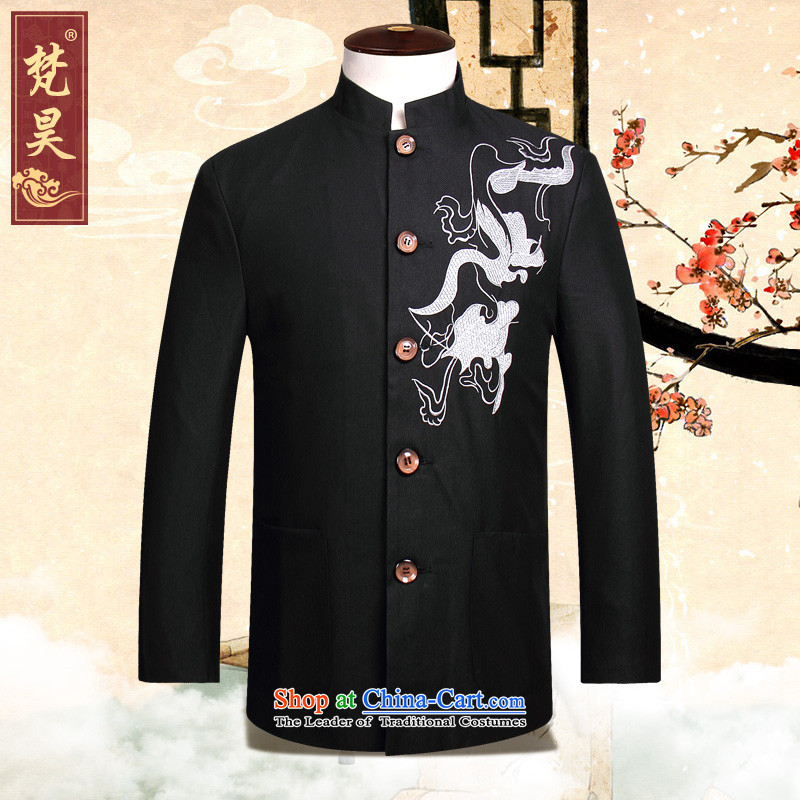 Van Gogh's autumn and winter load new Tang Dynasty Chinese tunic suit Male youth is smart casual collar embroidered dragon Chinese men's dress W833 services black?4XL
