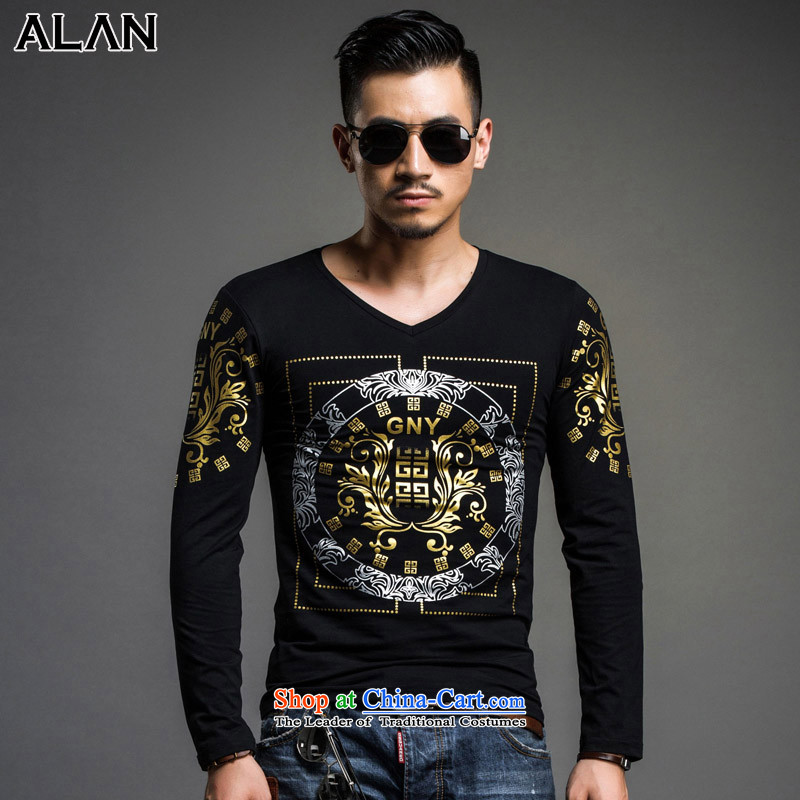 The sponsors of?autumn and winter 2015 men's long-sleeved T-shirt and Tang dynasty China wind solid color cotton T-shirt men v-neck, forming the Han-shirt male?black?M weight 120 3365 catties following_