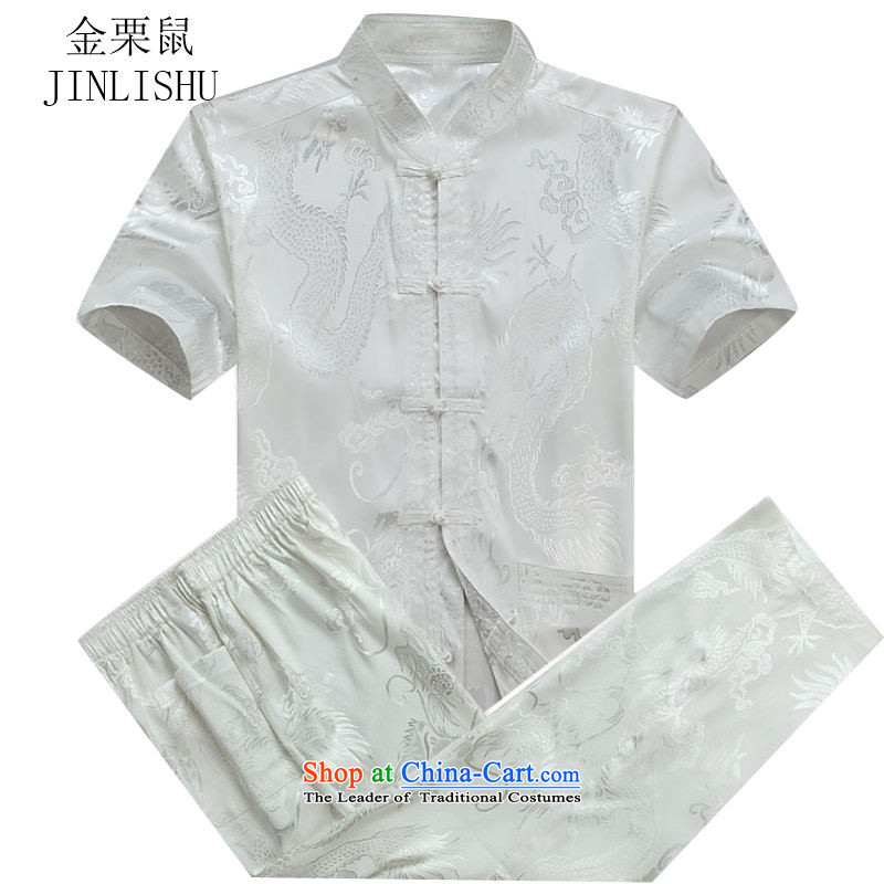 Kanaguri Mouse Tang dynasty male short-sleeve kit summer new short-sleeve packaged in Tang Dynasty older men exercise clothing Tai Chi Kit聽XL_180 Services White