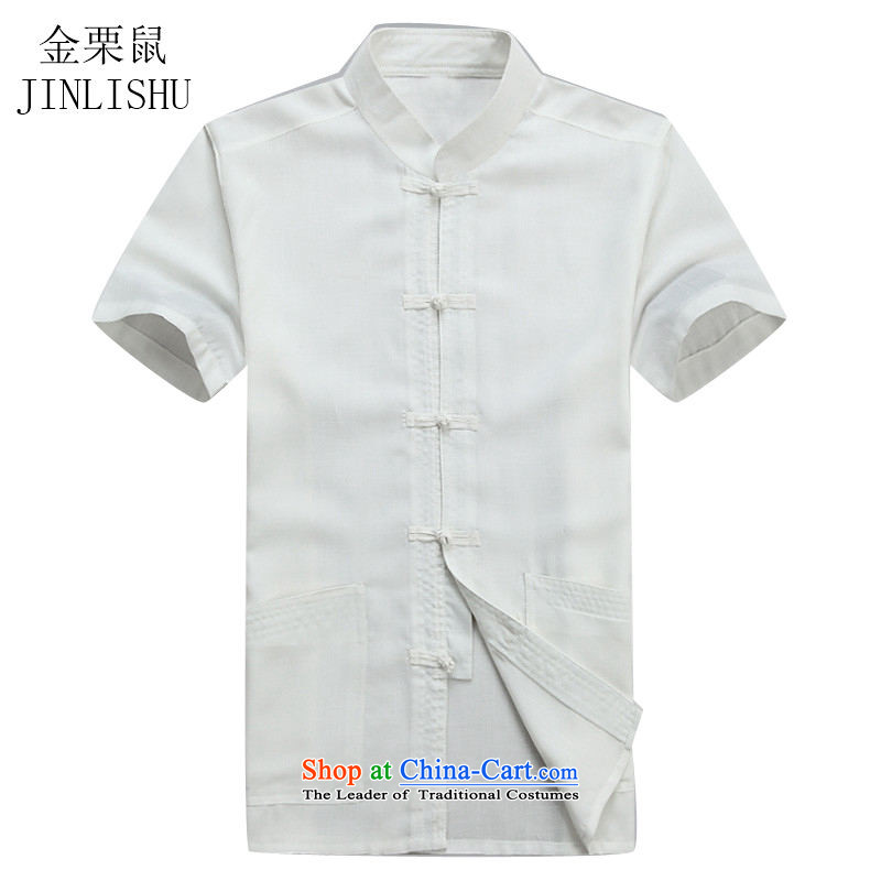 Kanaguri Mouse Suite Tang dynasty short-sleeved martial arts services practice suits leisure Tang blouses men kit half sleeve white T-shirt?S/165 Menswear