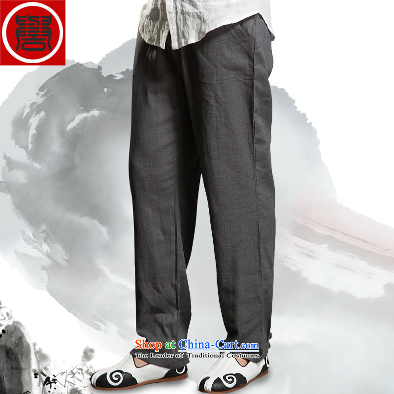 Renowned Tang China Wind Pants men casual pants Tang Dynasty Chinese tunic Han-Chinese loose elastic waist and Kung Fu trousers carbon large XL