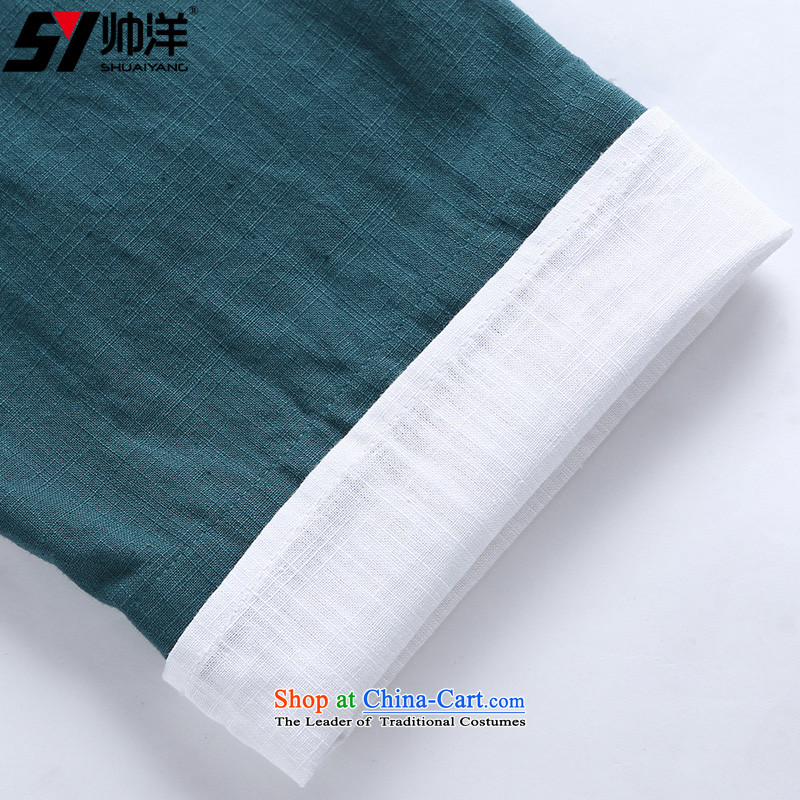 Shuai 2015 new summer, foreign men in both the short-sleeved shirt China wind male half sleeveless shirt that Chinese cotton with dark green     (single) 185/XXL, in cuff Shuai SHUAIYANG Yang () , , , shopping on the Internet