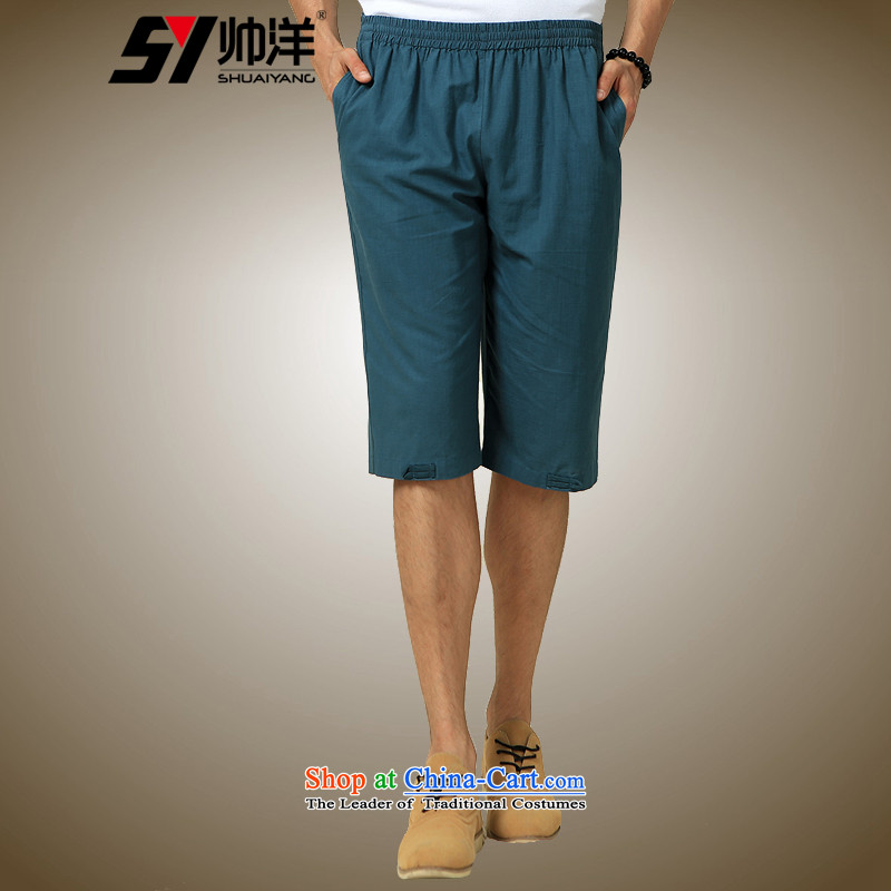 The new 2015 Yang Shuai men in Tang dynasty China Wind Pants Summer _dark green pants Chinese single piece in the trousers 185_XXL_
