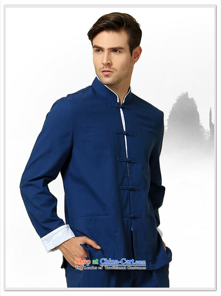 The new 2015 Yang Shuai men Tang dynasty long sleeved shirt collar China Wind Jacket Chinese Disc detained men retro shirt navy blue long-sleeved (single) image, the price and the 175/L brand platters! The elections are supplied in the national character of distribution, so action, buy now enjoy more preferential! As soon as possible.