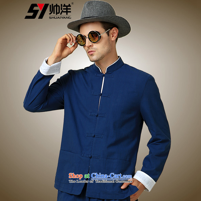 The new 2015 Yang Shuai men Tang dynasty long sleeved shirt collar China Wind Jacket Chinese Disc detained men retro shirt navy blue long-sleeved _single_ 175_L
