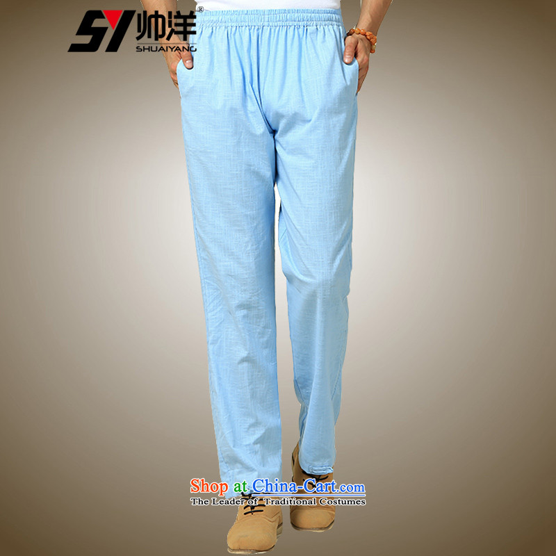 The new 2015 Yang Shuai China wind men Tang pants Chinese pants blue _single_ 165_S trousers