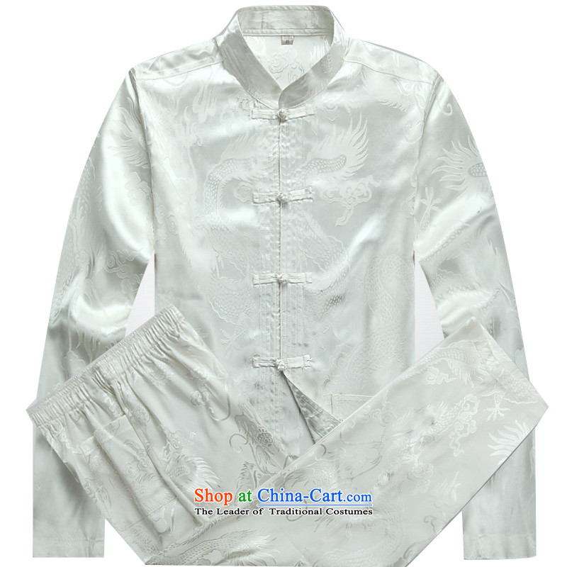 Kanaguri mouse in older Tang Dynasty Package long-sleeved middle-aged men summer Tang Dynasty Package in his father's older White?XXL Kit