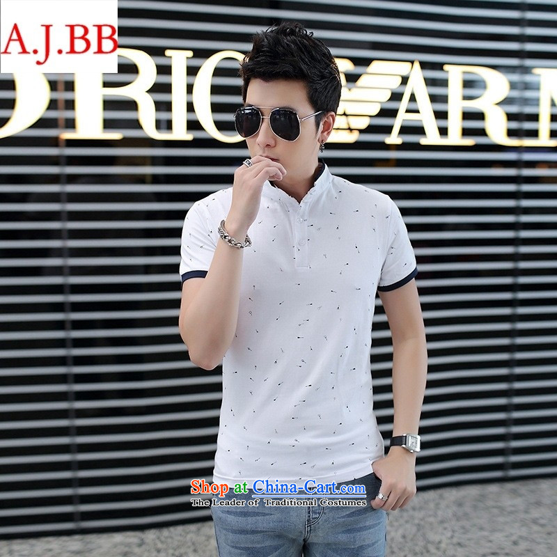 Orange Tysan *2015 summer new short-sleeved Men's Mock-Neck male short-sleeved T-bone white�XXXL fish