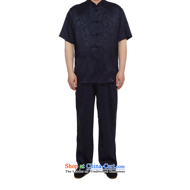 Kanaguri Mouse聽 2015 men's Tang Dynasty Package summer, China wind up thin snap in older men short-sleeved Tang Dynasty Package and blue聽XXXL