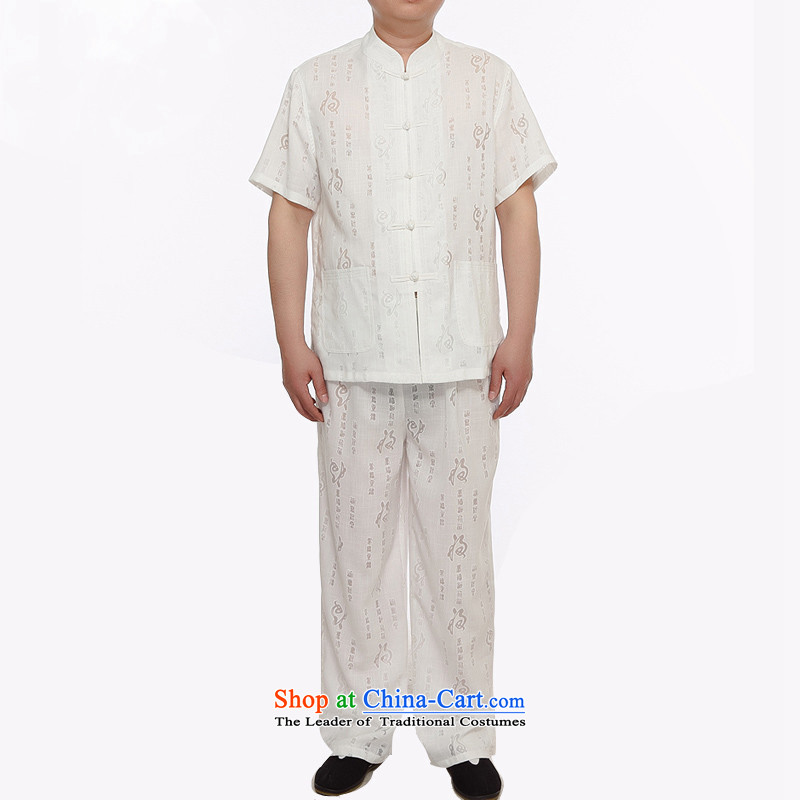 Kanaguri mouse cotton linen Tang dynasty short-sleeve kit male�2015 new collar business and leisure-tie china wind in national costume older white�S