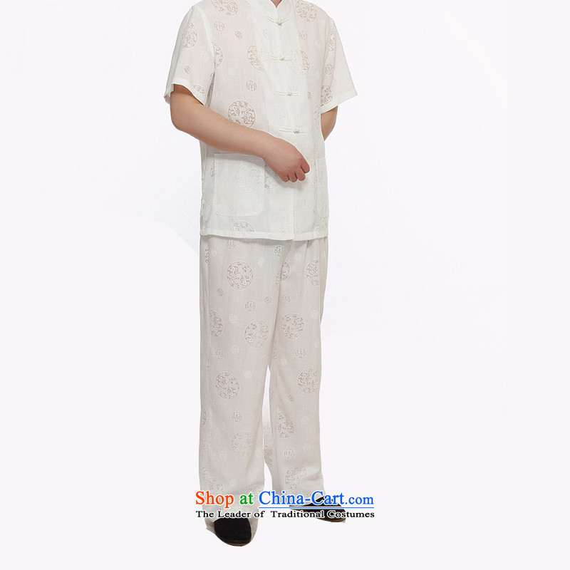 Kanaguri Mouse 2105 New Men Tang dynasty cotton linen short-sleeved T-shirt men short-sleeved Tang Dynasty Package boxed loose version disk father detained White聽XL, kanaguri mouse (JINLISHU) , , , shopping on the Internet