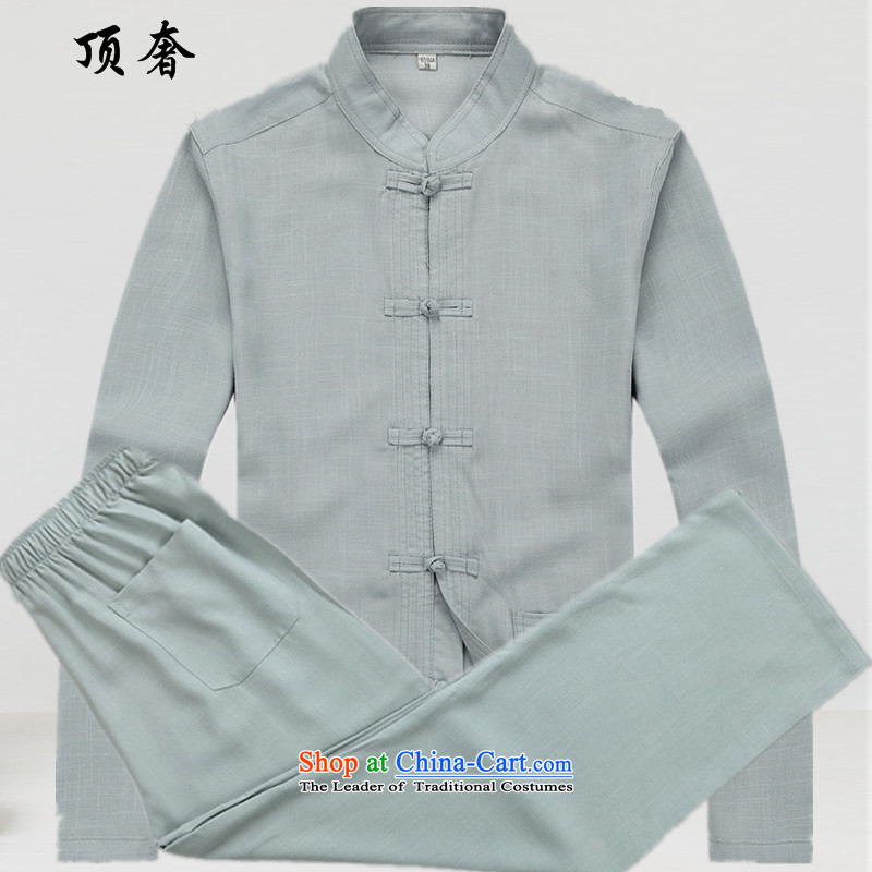 Top Luxury Tang dynasty male short-sleeve packaged cotton linen Tang dynasty male summer shirt with larger national father apparel older trainers wind kung fu kit ball-gray long-sleeved clothes and long-sleeved blue gray suit�_180