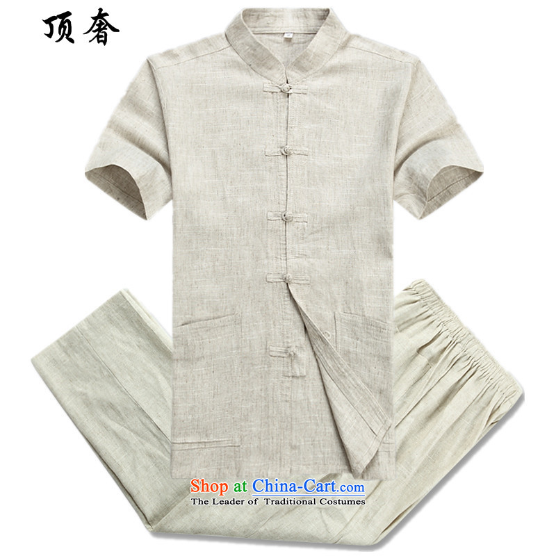 Top Luxury men Tang Dynasty Package summer short-sleeved of older persons in the elderly men's father, loose version thin grandpa male Tang dynasty summer in older linen Tang Dynasty Package short-sleeved kit beige�5