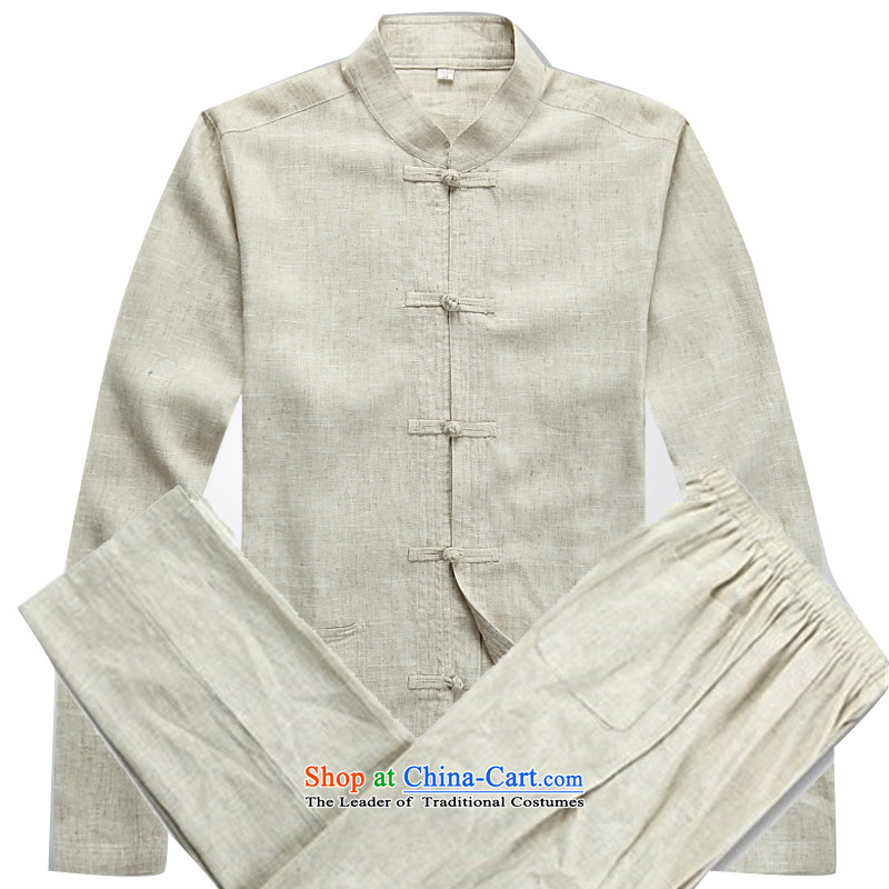 Kanaguri mouse spring, long-sleeved shirt collar kung fu Kit New Men long-sleeved Tang Dynasty Chinese Costume and packaged sets beige燣