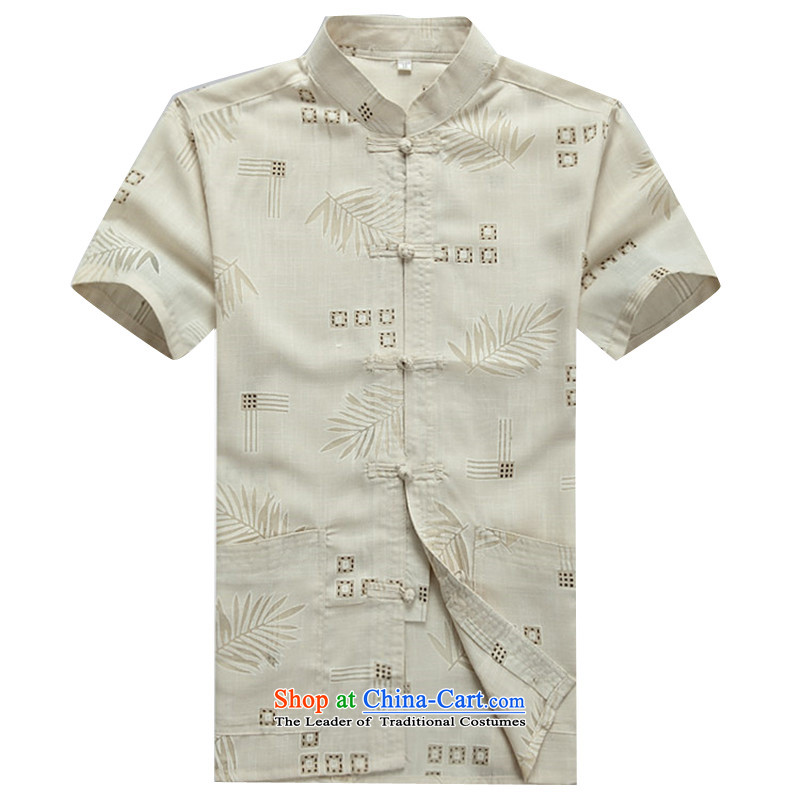 Beijing summer, OSCE older short-sleeved cotton linen middle-aged man Tang dynasty China wind half male in his shirt-sleeves installed grandpa summer father聽M_170 Beige