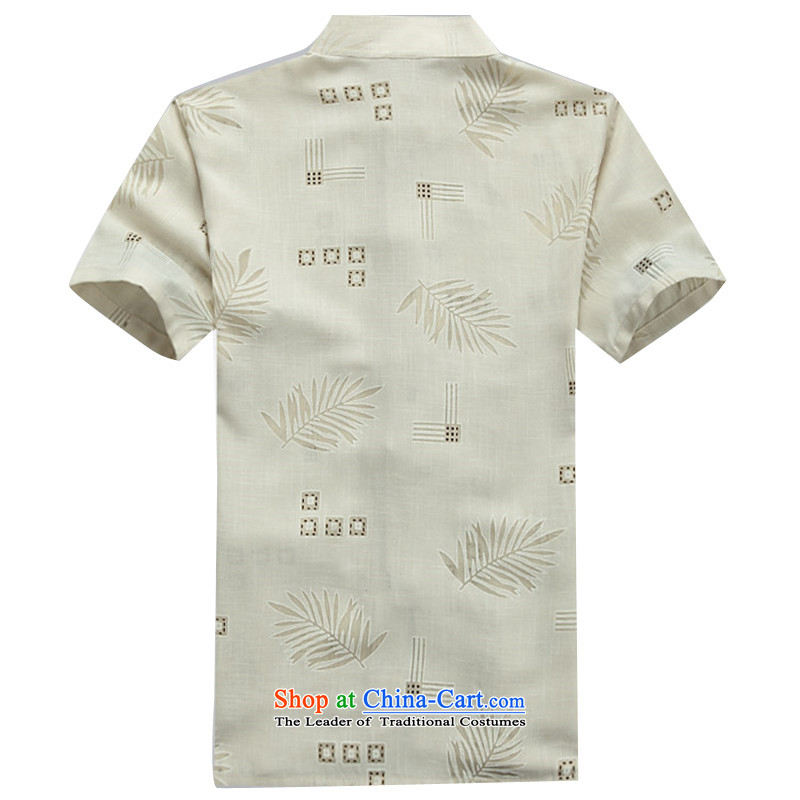 Beijing summer, OSCE older short-sleeved cotton linen middle-aged man Tang dynasty China wind half male in his shirt-sleeves installed grandpa summer father beige聽M/170, Putin (JOE OOH) , , , shopping on the Internet