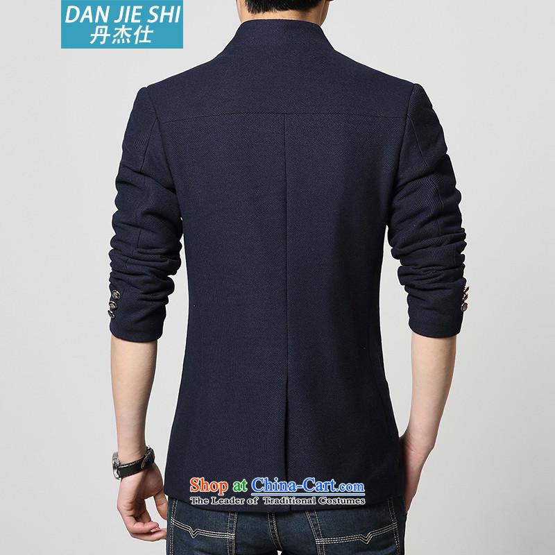 Dan Jie Shi聽2015 spring and autumn in a mock-neck jacket long single row detained men gross? jacket Chinese tunic knit cuff聽507 BLUE XL(130-140 suits, Dan James catty (DANG JIE SHI) , , , shopping on the Internet
