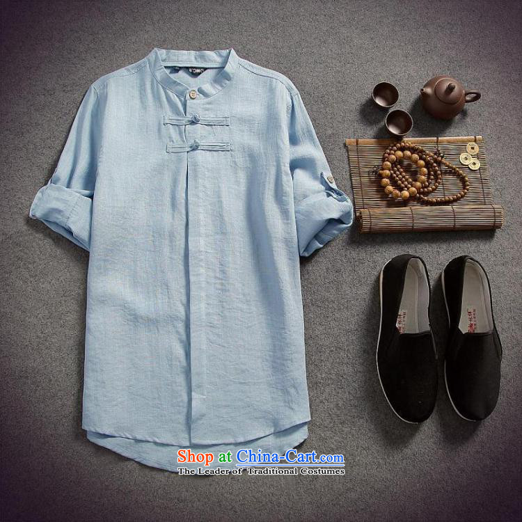 Dan Jie Shi 2015 spring/summer load replacing Men's Shirt cotton linen flax male disc allotted seven points sleeved shirt shirt original China wind Sau San, BLUE聽XL Photo, prices, brand platters! The elections are supplied in the national character of distribution, so action, buy now enjoy more preferential! As soon as possible.