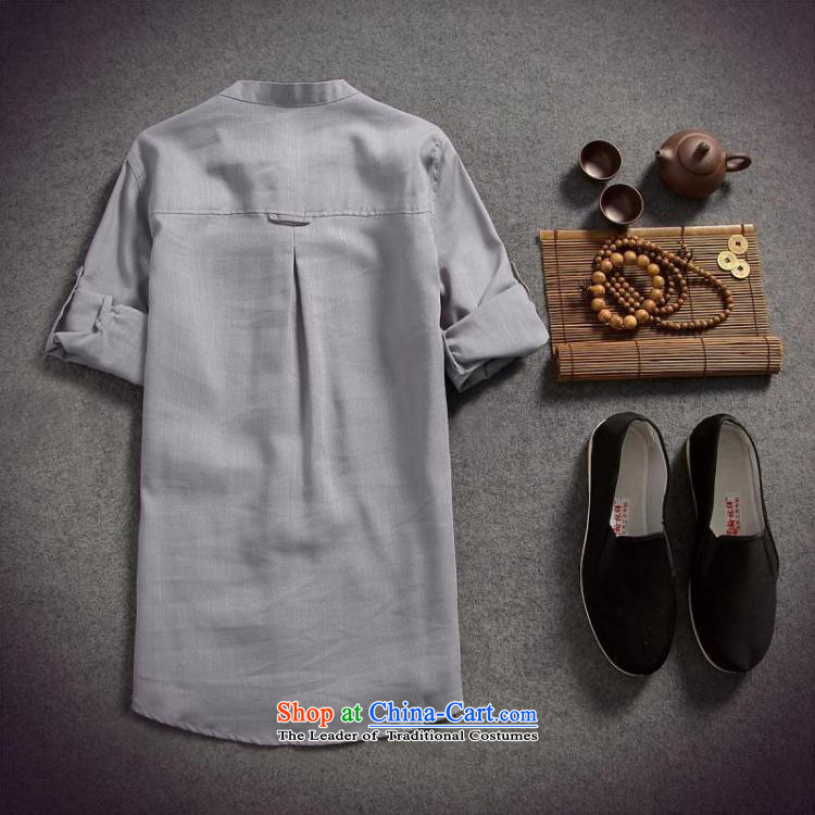 Dan Jie Shi 2015 spring/summer load replacing Men's Shirt cotton linen flax male disc allotted seven points sleeved shirt shirt original China wind Sau San, BLUE XL Photo, prices, brand platters! The elections are supplied in the national character of distribution, so action, buy now enjoy more preferential! As soon as possible.