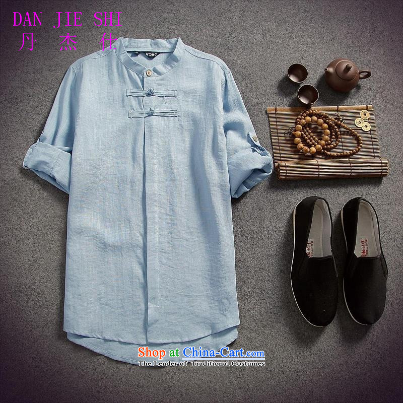 Dan Jie Shi 2015 spring_summer load replacing Men's Shirt cotton linen flax male disc allotted seven points sleeved shirt shirt original China wind Sau San, BLUE?XL