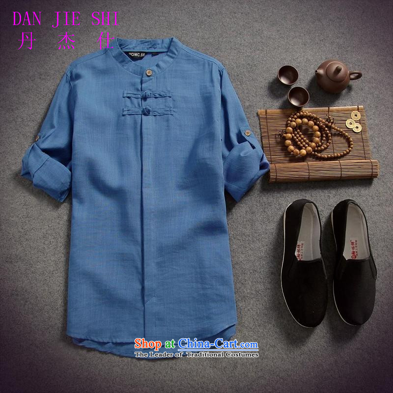 Dan Jie Shi 2015 spring/summer load replacing Men's Shirt cotton linen flax male disc allotted seven points sleeved shirt shirt original China Wind, BLUE XL, Dan Sau San Jie Shi (DANG JIE SHI) , , , shopping on the Internet