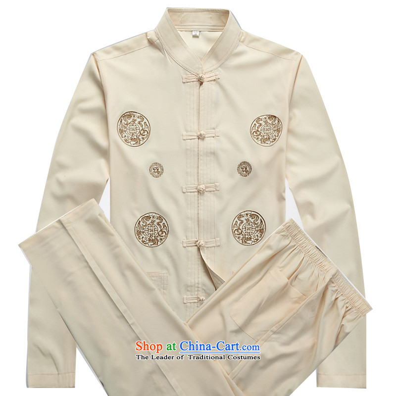 Kanaguri mouse in older Tang Dynasty Package long-sleeved spring and summer thin, middle-aged men Tang Dynasty Package in his father's older beige kit聽XXXL