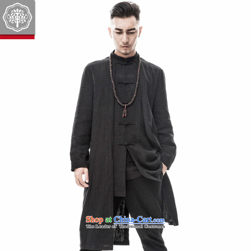 To Tang dynasty tree male Han-improved Chinese men fall cotton linen collar tray snap jacket Cheongsams China wind designer brands Hyun 185_XXL color