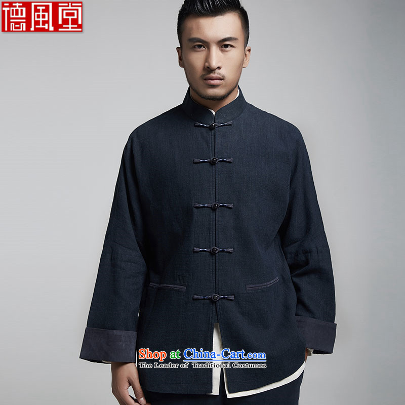 Fudo maximum 000 de pure Chinese Tang dynasty shoulder even men fall 2015 jacket embroidered dark that high-end comfortable original China wind men dark blue 44/165