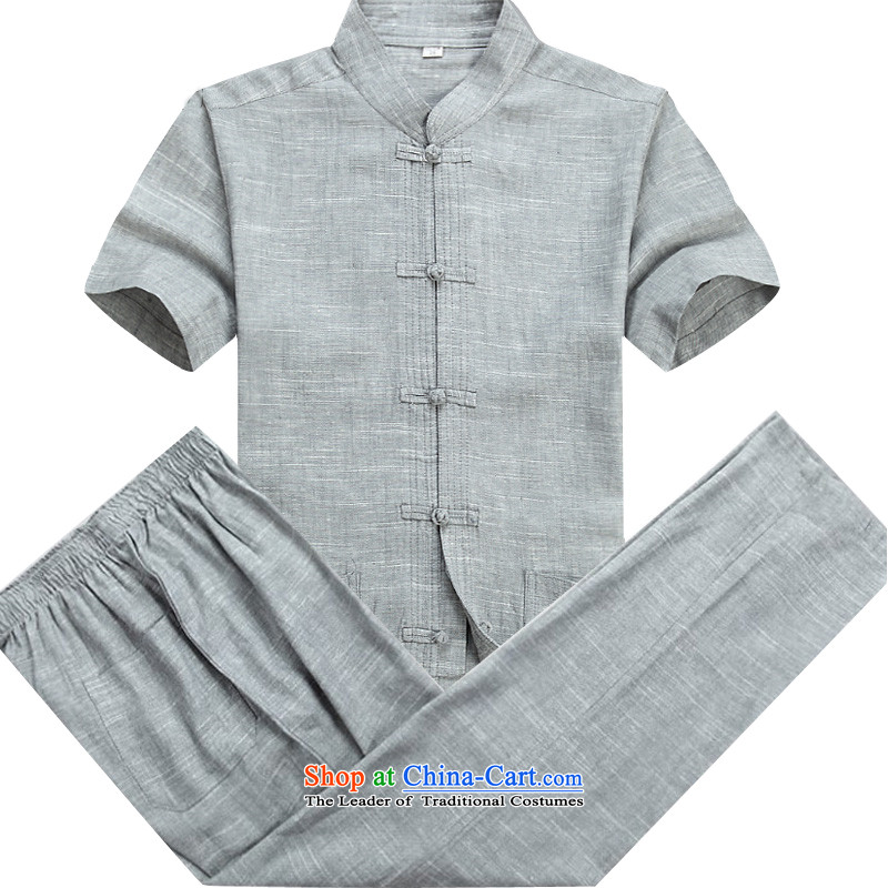 Beijing Europe in the new men Tang dynasty short-sleeved summer linen china wind Chinese collar middle-aged men detained up to improve the Tang Dynasty Package half sleeve gray kit S