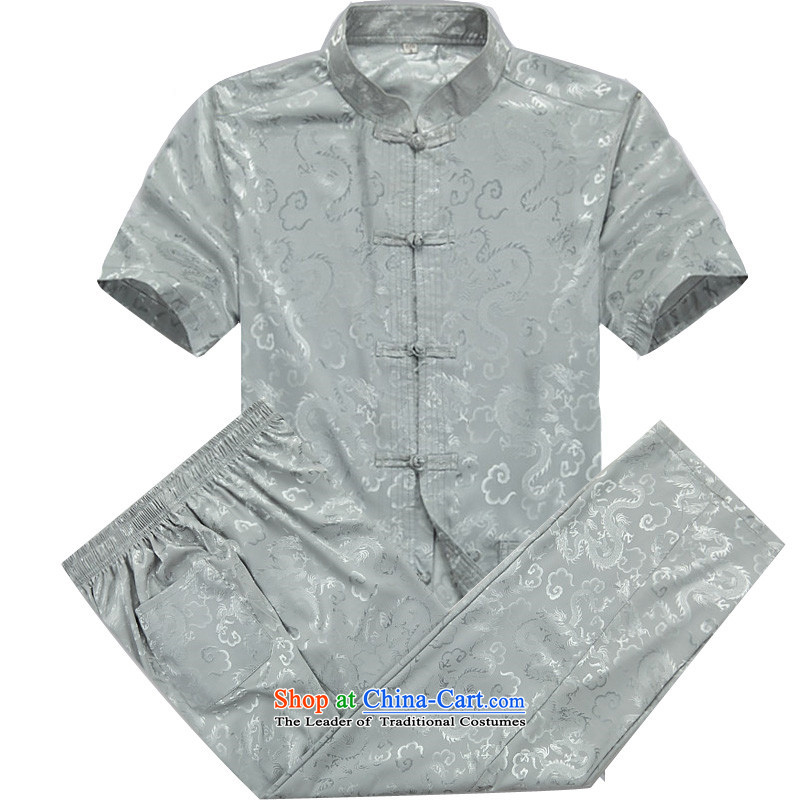 Beijing Europe 2015 men Tang dynasty short-sleeved T-shirt, older men summer uniforms Tang Tang dynasty short-sleeved shirt and half sleeve gray xl cyan kit M