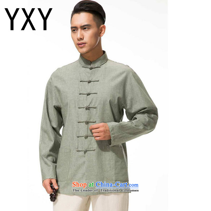 In line cloud men cotton linen collar disc Tang dynasty detained in long-sleeved shirt older leisure long-sleeved multi-color Dytm-x beans green L