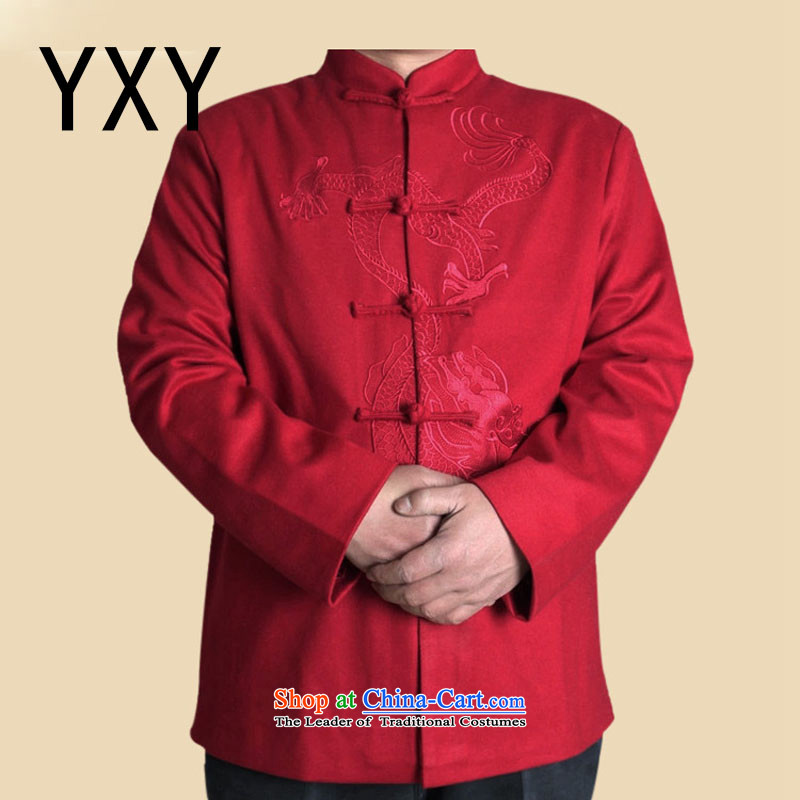In line cloud Han-nation China wind collar long-sleeved shirt upscale male Spring and Autumn Chinese elderly in the jacket Tang dynasty?DYF717?RED?L