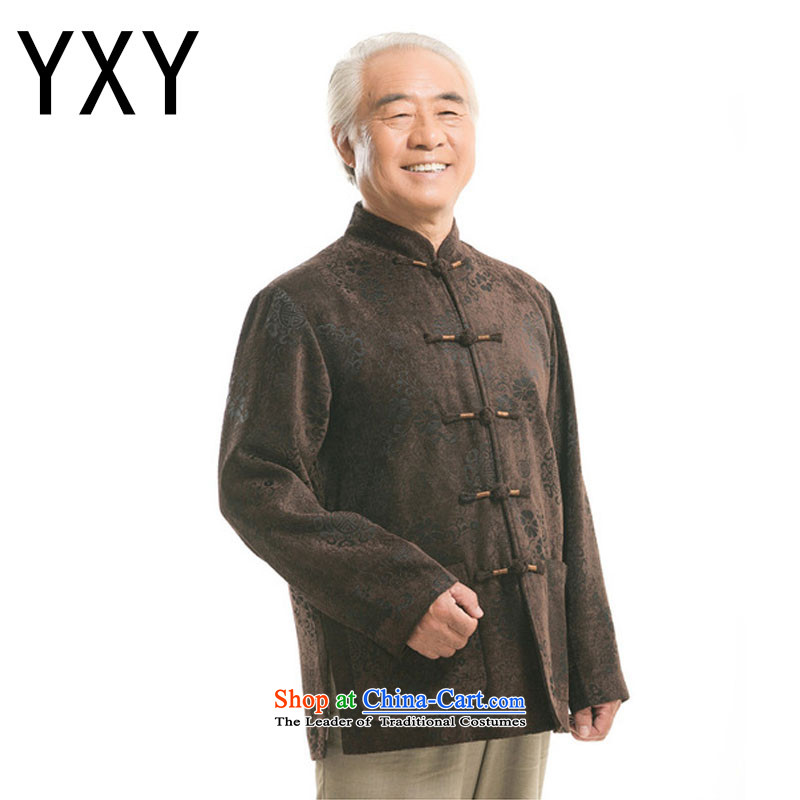 In line cloud China wind men's round-butted older leisure Tang dynasty men DY9823 long-sleeved shirt and brown XXXL