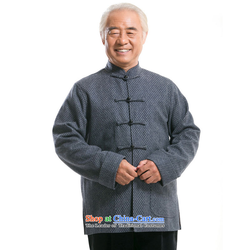 Line-in the cloud of older men long-sleeved gross? autumn and winter Tang dynasty China wind Han-Stylish coat聽DY7718 national costumes聽聽, L-line cloud gray (youthinking) , , , shopping on the Internet