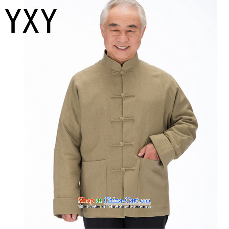 In line and long-sleeved Chinese leisure cloud in older men long-sleeved Tang dynasty thick winter jackets聽DY1320聽Yellow聽XL