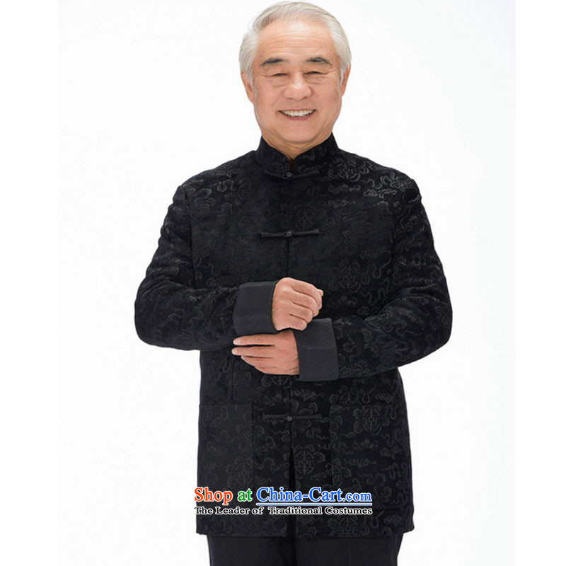 Line-in the cloud of older men herbs extract Tang casual thick long-sleeved Tang Dynasty Xiangyun ethnic men Tang jacket DY1316  XXXL, black-line (youthinking cloud) , , , shopping on the Internet
