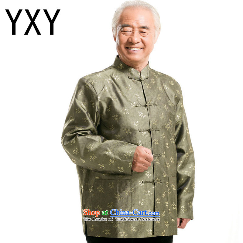 In line cloud Chinese men fall and winter Tang dynasty long-sleeved shirt, elderly men tray clip older persons long-sleeved men?DY0777?GREEN?XL