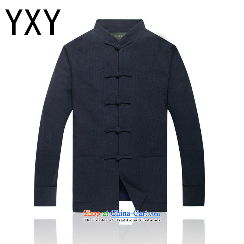 In line thickness of cloud cotton linen men in Tang Dynasty linen older upscale tang with shoulder long-sleeved shirt lined聽DY0738聽DARK BLUE聽L
