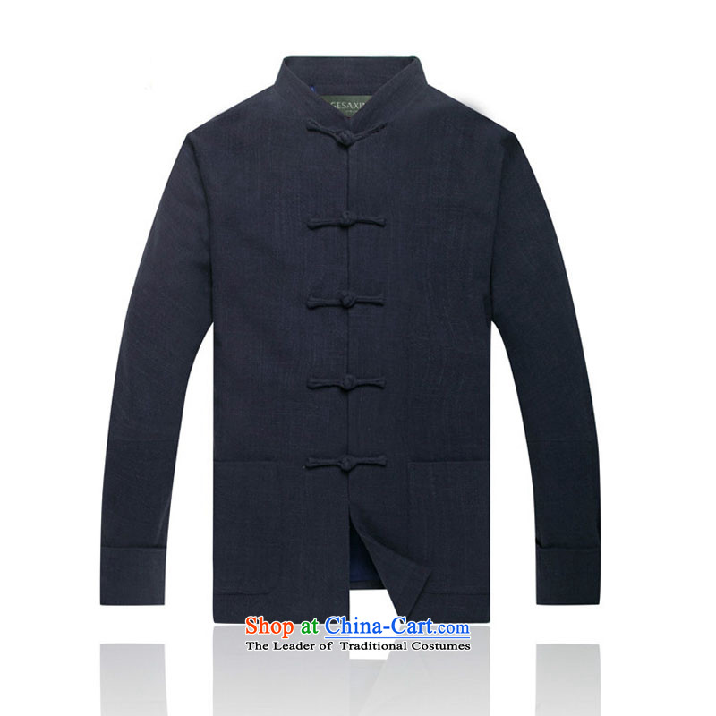 In line thickness of cloud cotton linen men in Tang Dynasty linen older upscale tang with shoulder long-sleeved shirt with聽dark blue聽, L DY0738 lining-line (youthinking cloud) , , , shopping on the Internet