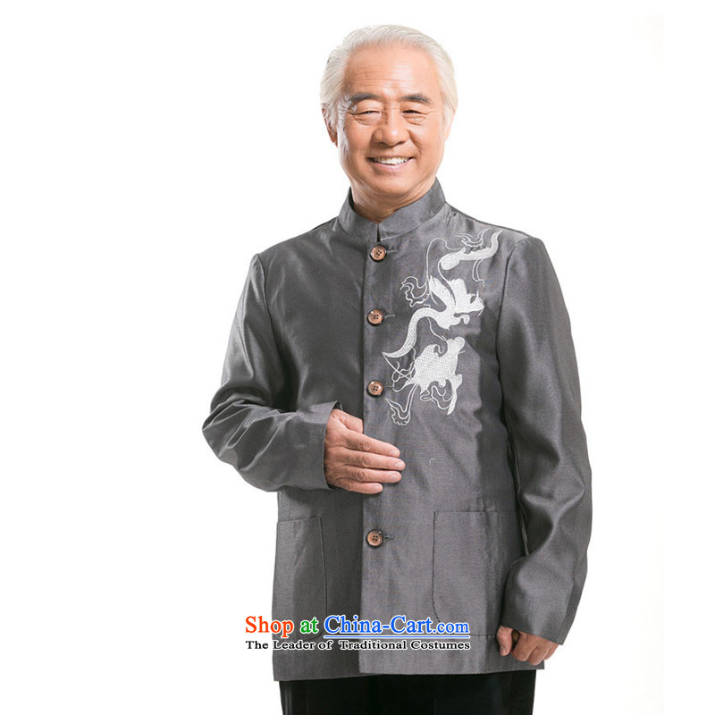 Embroidered dragon-line cloud men Tang Dynasty Chinese in long-sleeved sweater older Men's Mock-Neck Shirt聽DY0733 China聽Gray聽Line-M, Cloud (youthinking) , , , shopping on the Internet