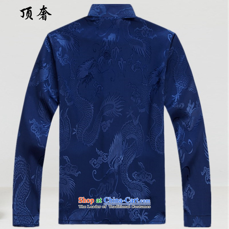 Top Luxury Men's Shirt Tang Dynasty Chinese men's long-sleeved Kit China wind load spring and autumn loose version male kit tray clip collar Chinese Han-exercise clothing White Kit聽L/175, top luxury shopping on the Internet has been pressed.