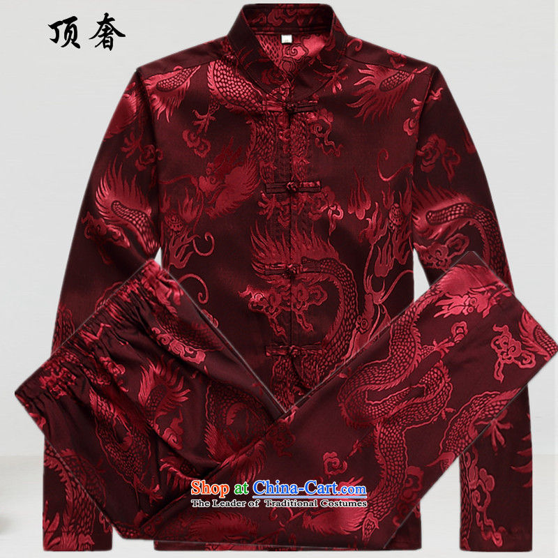 The extravagance in爏pring and autumn of 2015, the top men long-sleeved shirt Tang Dynasty Chinese shirt, forming the kung fu men serving in Nepal Netherlands Tang Dynasty Package Version relaxd Han-male燤_170 red T-Shirt
