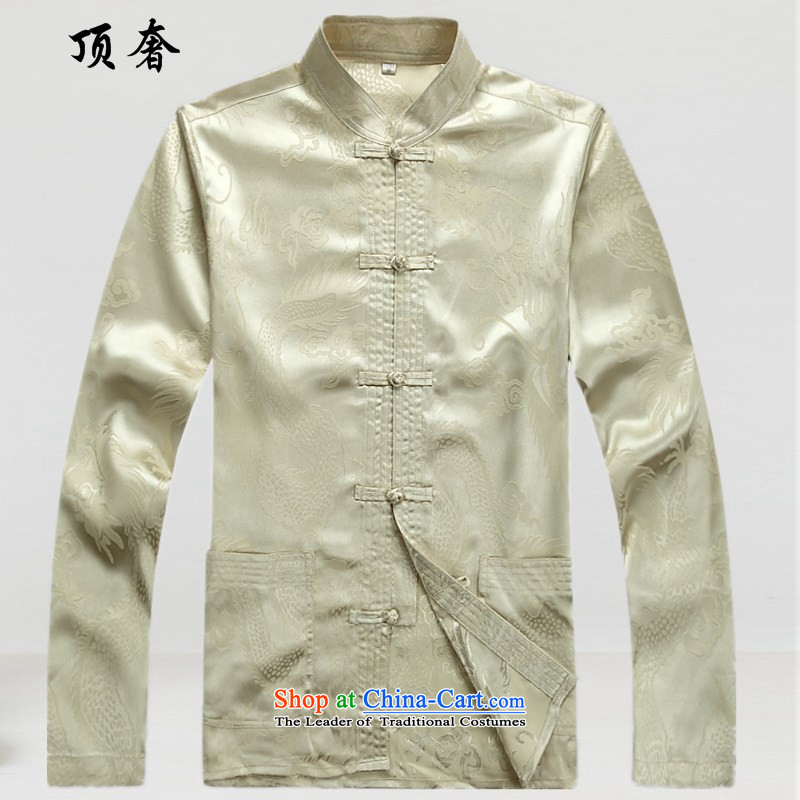 Top Luxury Men's Shirt Tang Dynasty Chinese men's long-sleeved Kit China wind load spring and autumn loose version male kit tray clip collar Chinese Han-Male dress exercise clothing m yellow blouse燤_170