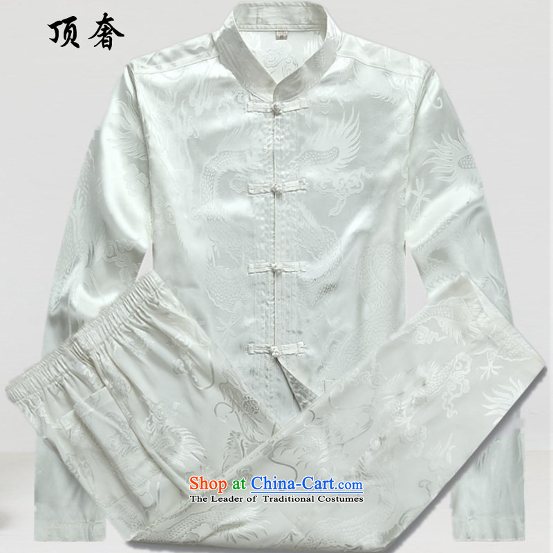 Top Luxury Men's Shirt Tang Dynasty Chinese men's long-sleeved Kit China wind load spring and autumn loose version black male kit tray clip collar Chinese Han-exercise clothing white?XXXL/190 Kit