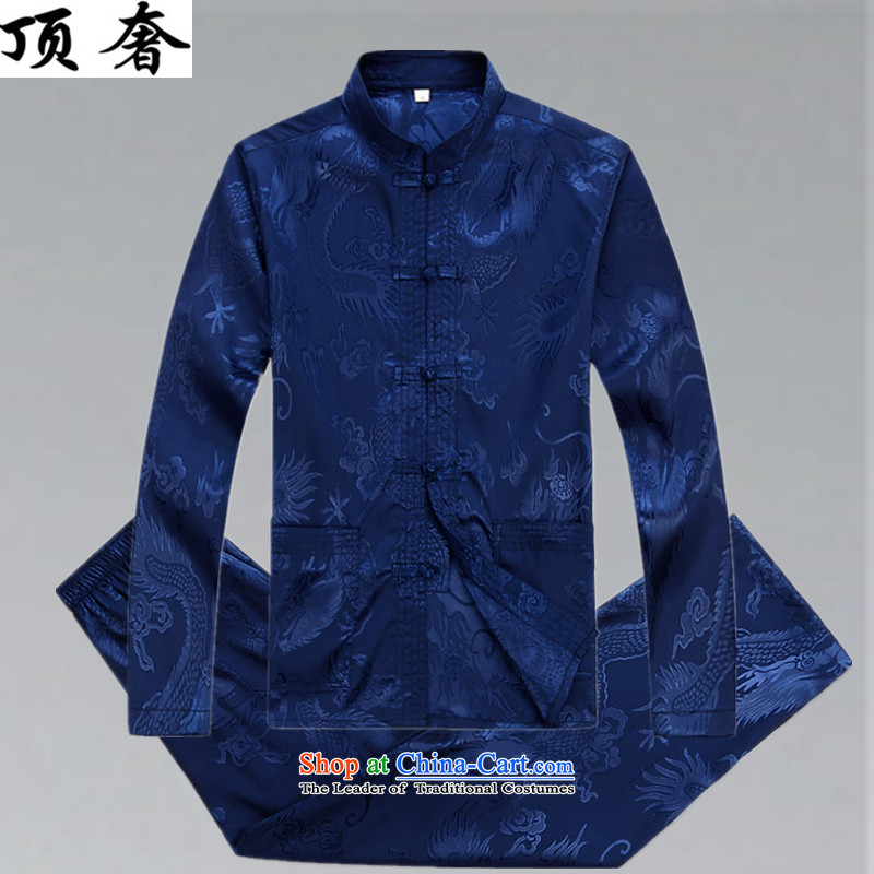 Top Luxury Men's Shirt Tang Dynasty Chinese men's long-sleeved Kit China wind load spring and autumn loose version male kit tray clip collar Chinese Han-exercise clothing kit燲XL_185 blue