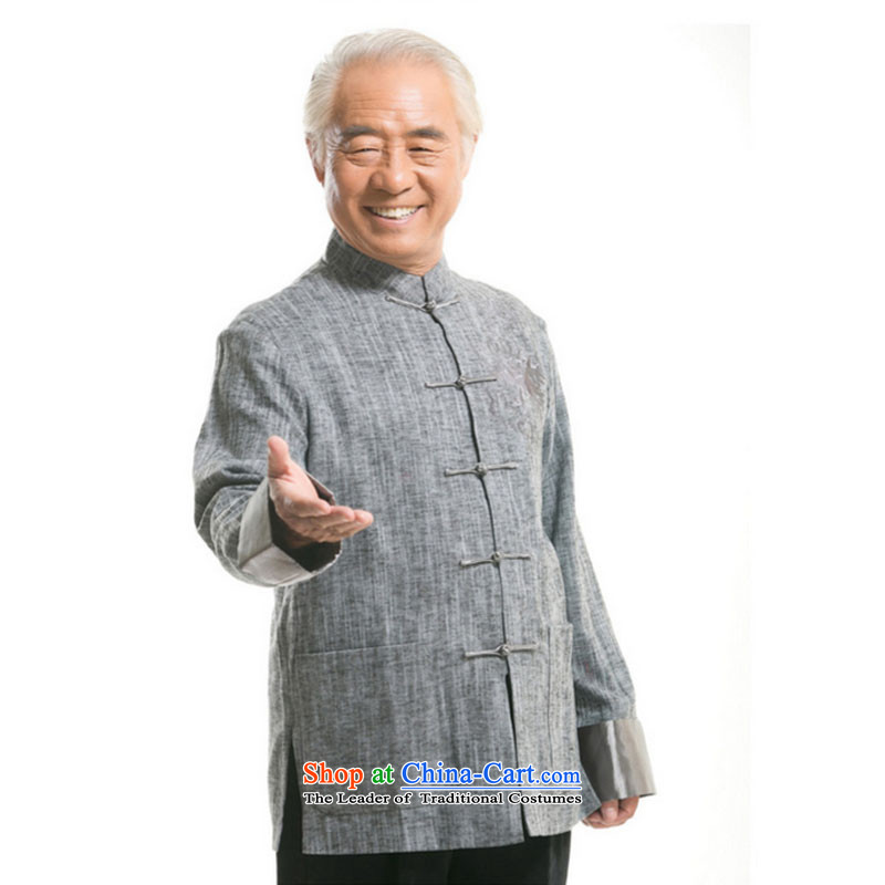 Line-in the cloud of older men Tang dynasty long-sleeved sweater Fall/Winter Collections of ethnic Chinese disc loading dad detained men聽DY711 cotton linen聽聽XXXL, light gray line at stake (youthinking cloud) , , , shopping on the Internet