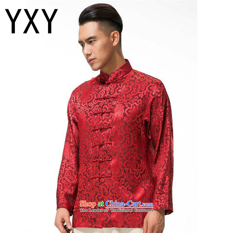 In line cloud cotton linen men's jackets and thick Tang, collar manually men long-sleeved detained disc Tang dynasty DY003 RED XL