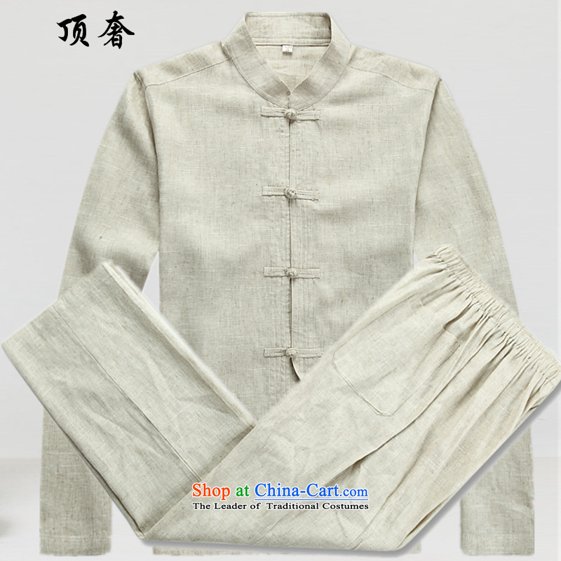 Top Luxury spring and summer men cotton linen Tang dynasty men fall long-sleeved clothing middle-aged father Han older persons with Chinese men's Tang tray clip collar Tang Dynasty Package beige?XXXL/190 Kit