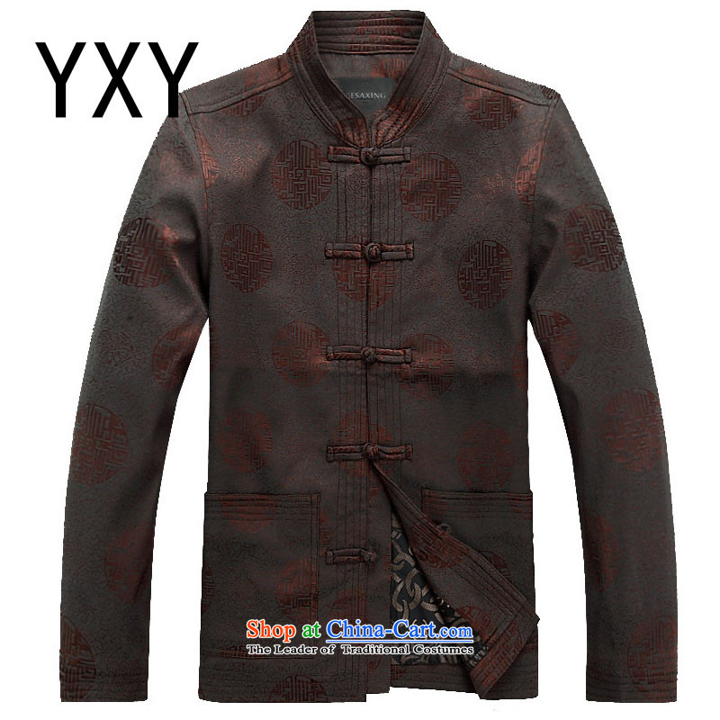 In line with the southern men cloud spring and autumn long-sleeved Tang Dynasty Chinese word collar detained men will�DY002 Han-�brown�XXL