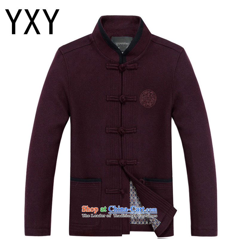 Line-in the cloud of older men's woolen? Tang Dynasty Chinese leisure thick long-sleeved round lung ethnic men Tang jacket聽DY88020聽Magenta聽XL